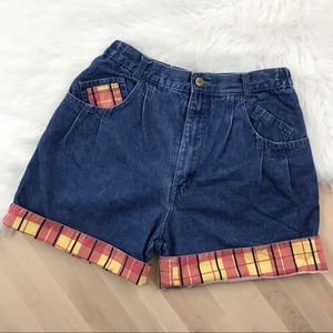 Vintage Plaid High Waist Jean Shorts